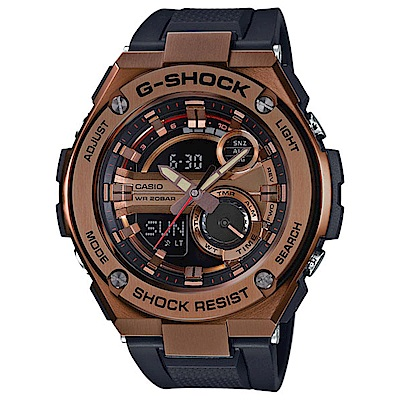 G-SHOCK 絕對強悍金屬雙顯運動錶(GST-210B-4A)-古銅金/52.4mm