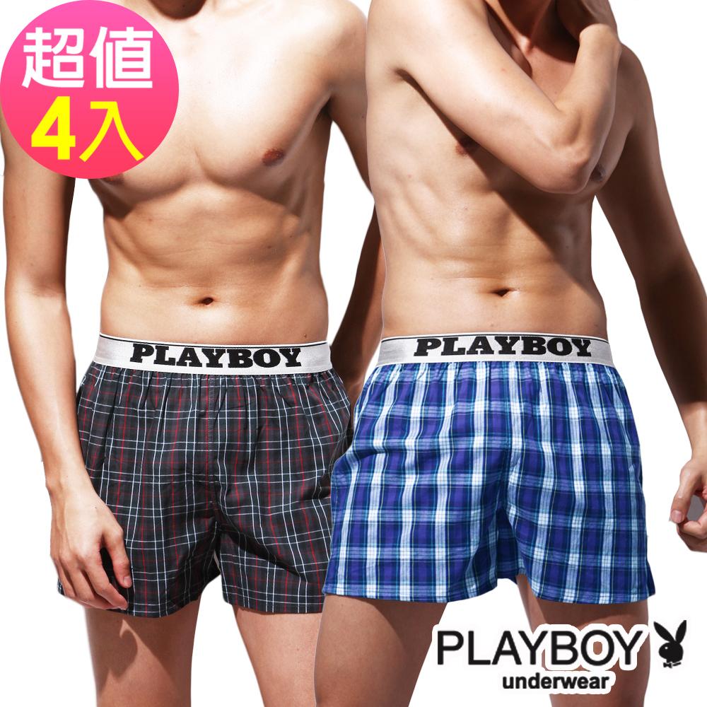 PLAYBOY LOGO織帶開檔格紋四角褲(4件組)