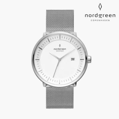 Nordgreen Philosopher 哲學家 月光銀系列 月光銀 鈦鋼米蘭錶帶手錶 40mm