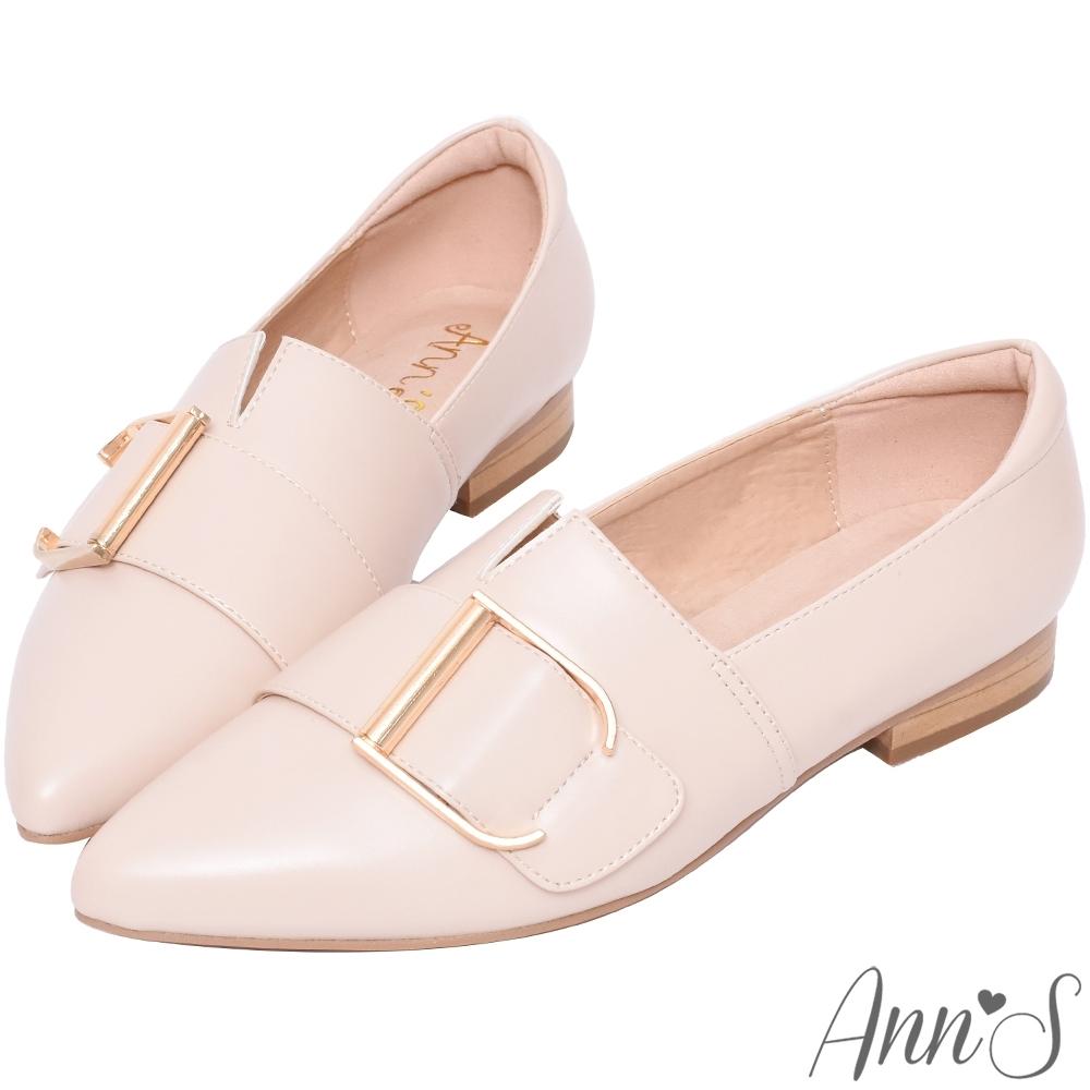 Ann'S金色D扣尖頭紳士鞋-粉杏