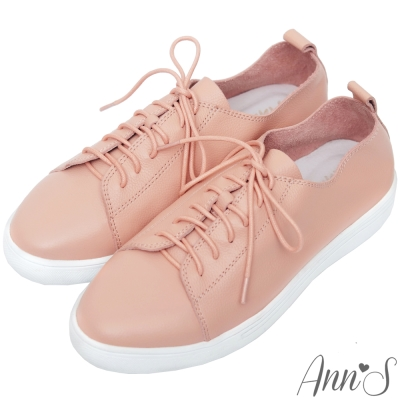 Ann'S第二代超軟真牛皮綁帶小白鞋-粉