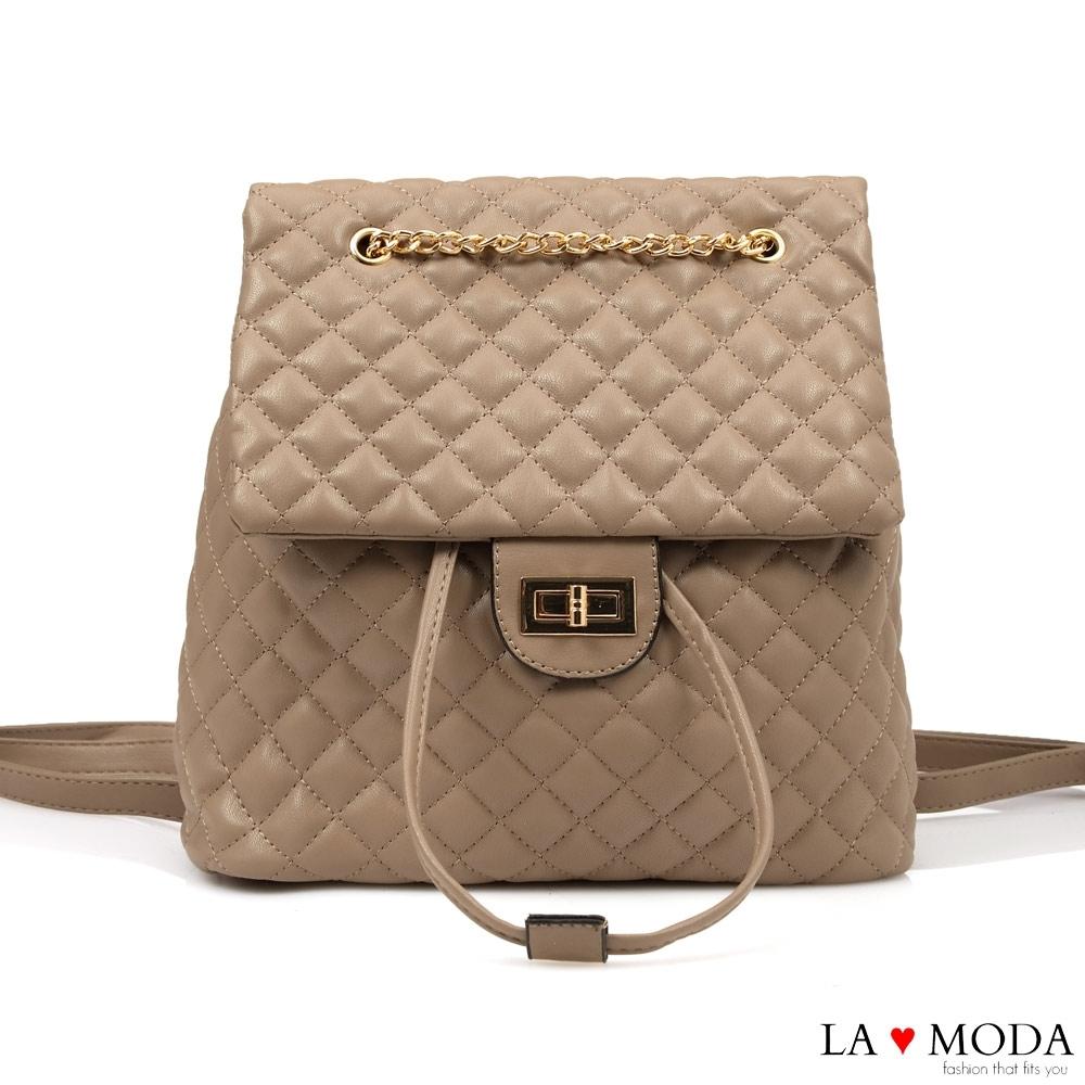 La Moda 不敗小香風菱格紋多背法大容量肩背後背包(杏)
