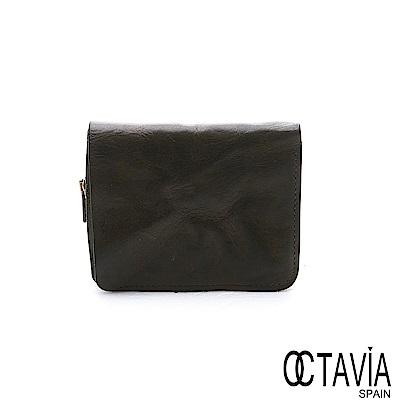 OCTAVIA 8 真皮 - 風化牛皮系列 樹的玩伴二折壓扣短夾 - 墨綠