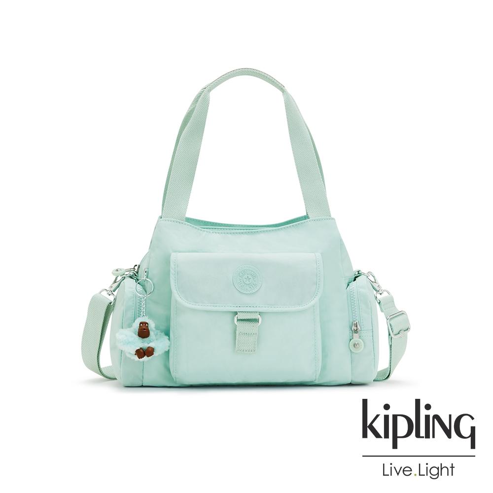 Kipling 神秘薄荷藍好收納手提兩用斜背包-EIRENE