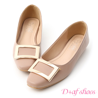 D+AF 典雅美型.大方釦微方頭娃娃鞋*粉