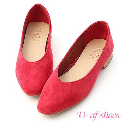 D+AF 優雅美型.素面V口絨料平底鞋*紅