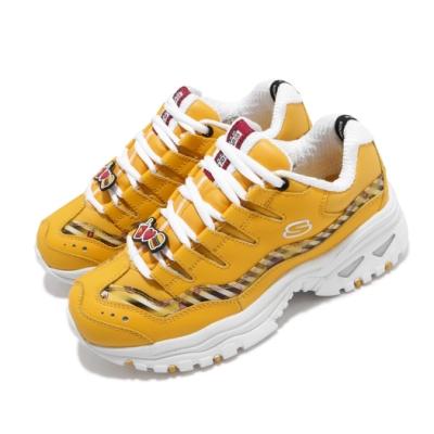 Skechers 休閒鞋 Energy LINE FRIENDS 女鞋 老爹鞋 厚底 增高 熊大 皮革 穿搭 修飾 黃 白 13424YEL