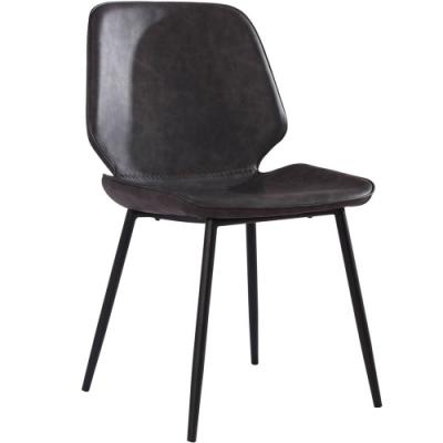 【AT HOME】美式復古工業風鐵藝深灰皮面餐椅(47x55x87cm)吉恩