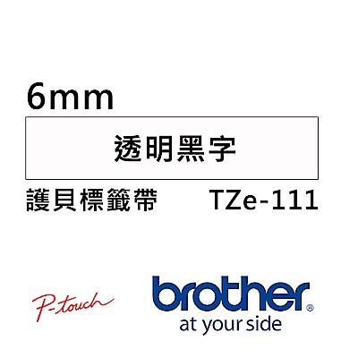 Brother TZe-111 護貝標籤帶 ( 6mm 透明底黑字 )
