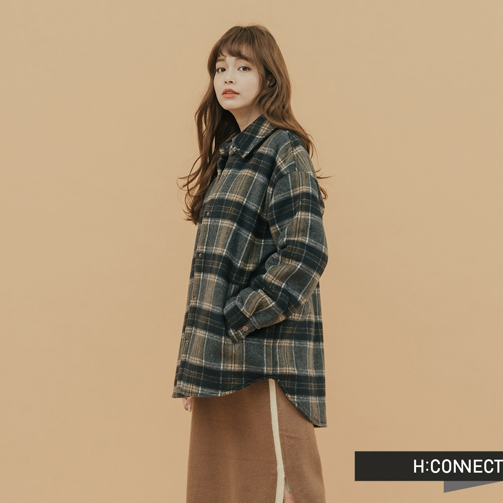 H:CONNECT 韓國品牌 女裝-內刷毛格紋夾克外套 -藍