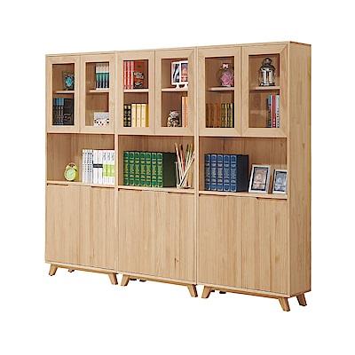 文創集 摩可娜時尚8尺實木書櫃/收納櫃組合-240x36x183cm-免組