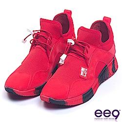 ee9 率性風采異材質拼接綁帶運動休閒鞋 紅色