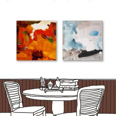 24mama掛畫-二聯式 藝術抽象 油畫風無框畫 30X30cm-現代北歐