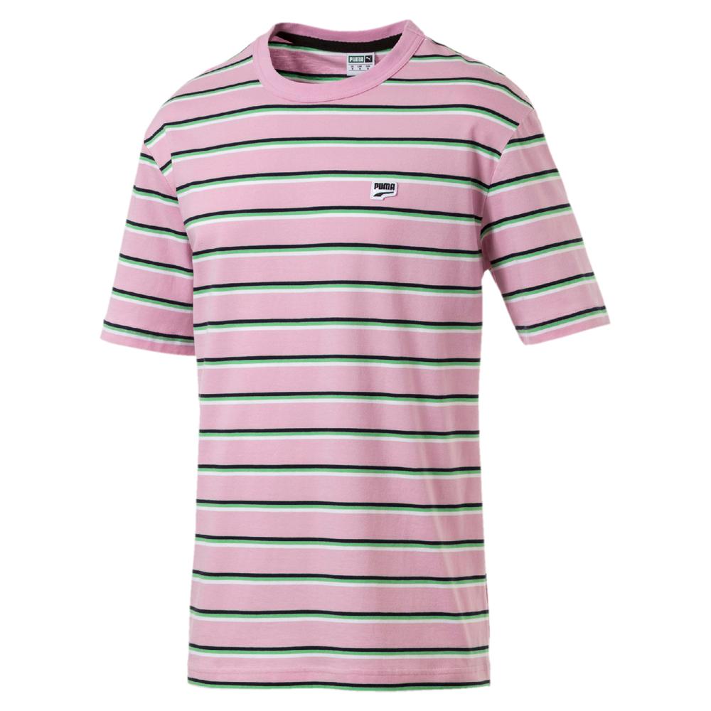 PUMA-男性流行系列Downtown細條紋短袖T恤-淡淺粉-歐規