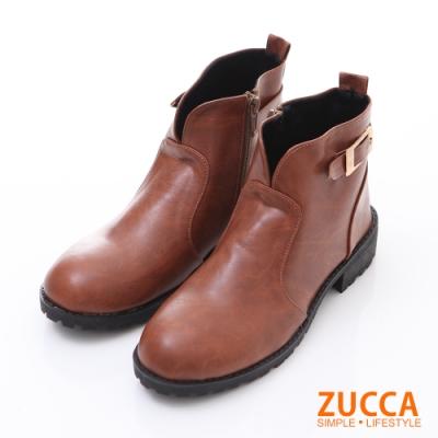 ZUCCA 金屬扣環皮革低跟踝靴-駝色-z6221lc