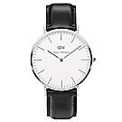DW Daniel Wellington 簡潔紳士黑色皮革腕錶-銀框/40mm