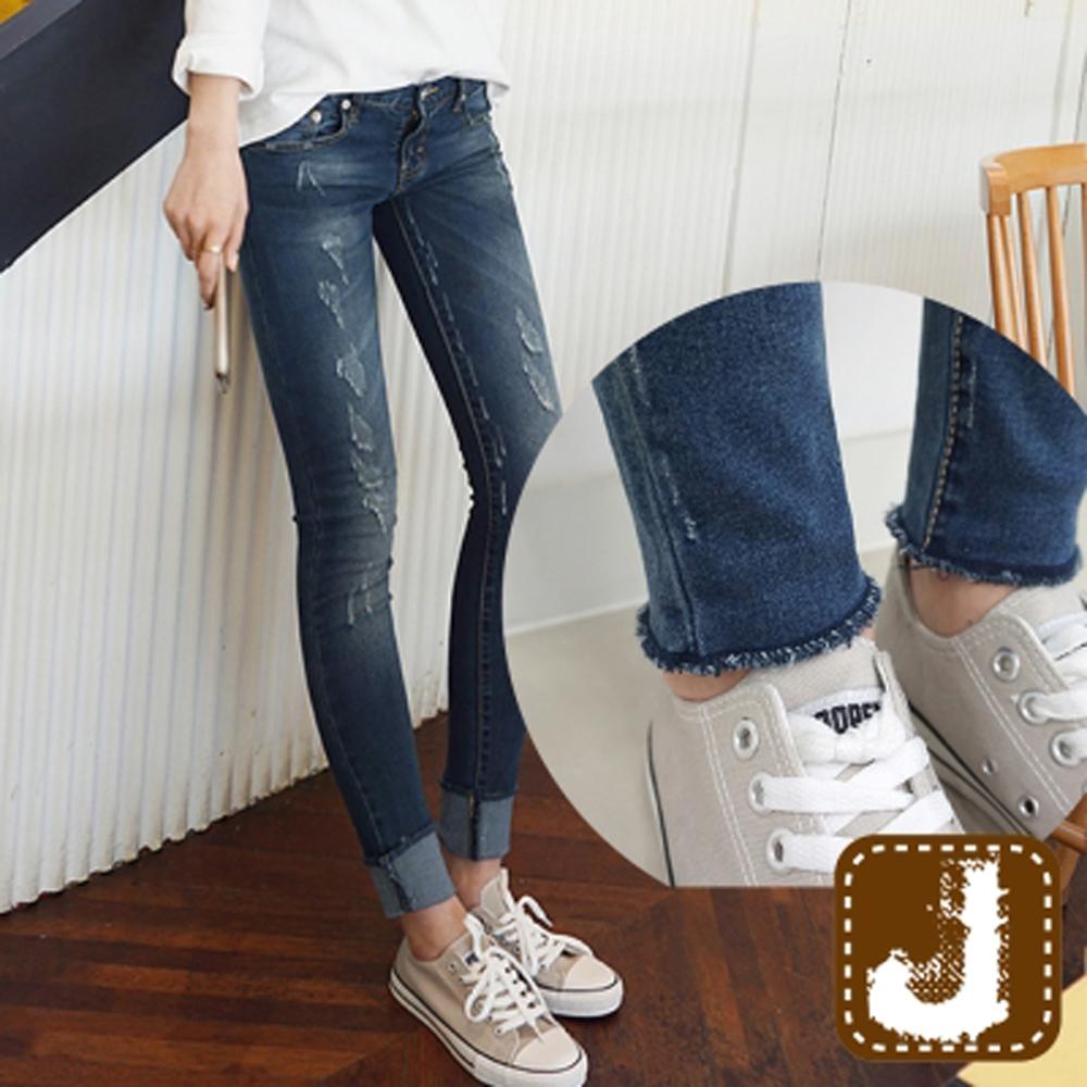 正韓 刷色磨損彈性貼腿窄管-(水洗藍)100%Korea Jeans