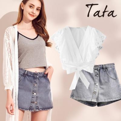 [時時樂] 時尚甜姐兒必備!鏤空花顯瘦上衣+百搭褲裙 TATA