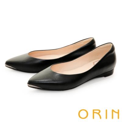 ORIN 流線金屬真皮尖頭 女 平底鞋 黑色