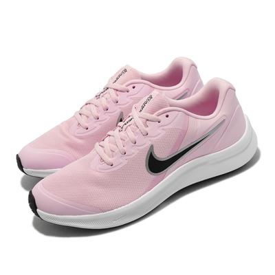 Nike 慢跑鞋 Star Runner 3 GS 運動 女鞋 輕量 舒適 避震 透氣網布 大童 球鞋 粉 白 DA2776-601