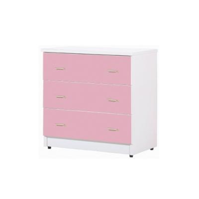韓菲-粉紅屜白色三屜塑鋼衣櫃-81.5x48x81.5cm