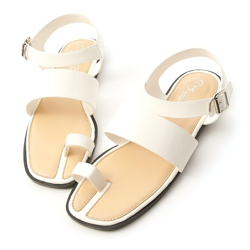D+AF 個性指標.一字寬帶套指方頭涼鞋*白