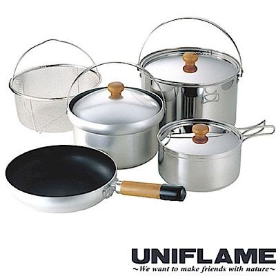 日本 UNIFLAME FAN5 DX不鏽鋼五件式鍋具組(4~5人)