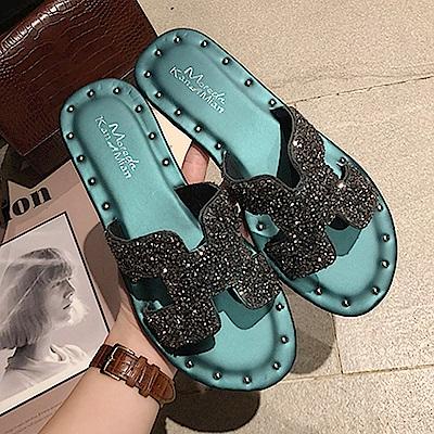 韓國KW美鞋館 好評加碼簡約平底拖鞋-藍色