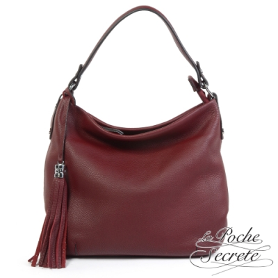 La Poche Secrete側背包 簡約真皮肩側背流蘇大方包-酒紅色