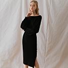 AIR SPACE LADY 慵懶風側開衩長袖針織洋裝(黑)