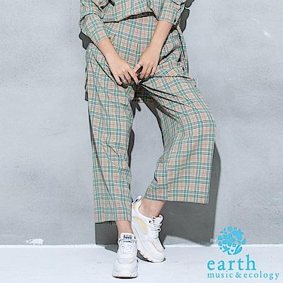 earth music 花苞格紋寬褲