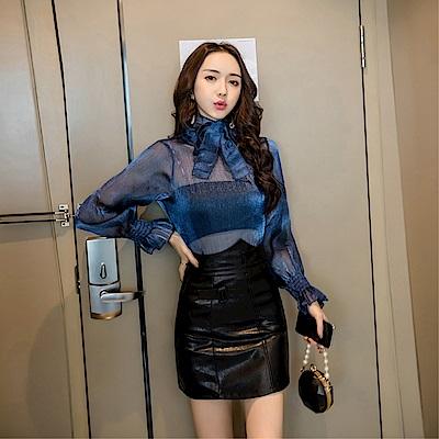 DABI 韓系歐根紗燈籠袖上衣PU皮裙套裝長袖裙裝