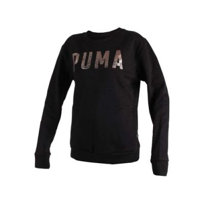 PUMA 女基本系列刷毛長袖圓領T恤-長T 長袖上衣 慢跑 黑香檳金