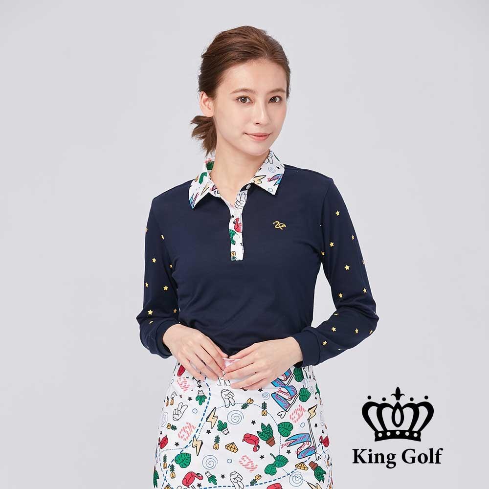 【KING GOLF】領口印花包邊收腰顯瘦棉料薄款長袖POLO衫-丈青