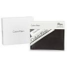 Calvin Klein 水波紋撞色皮革證件短夾精裝禮盒贈CK帕巾(深咖啡/茶棕色)