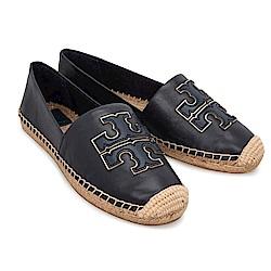 TORY BURCH 品牌圖騰牛皮麻料草編平底鞋(黑夜藍)