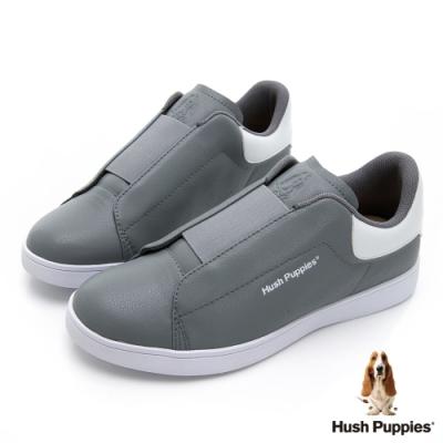 Hush Puppies 輕量皮革直套式繃帶厚底鞋-灰色
