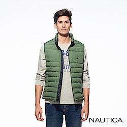 Nautica素面壓紋科技羽絨恆溫背心-綠