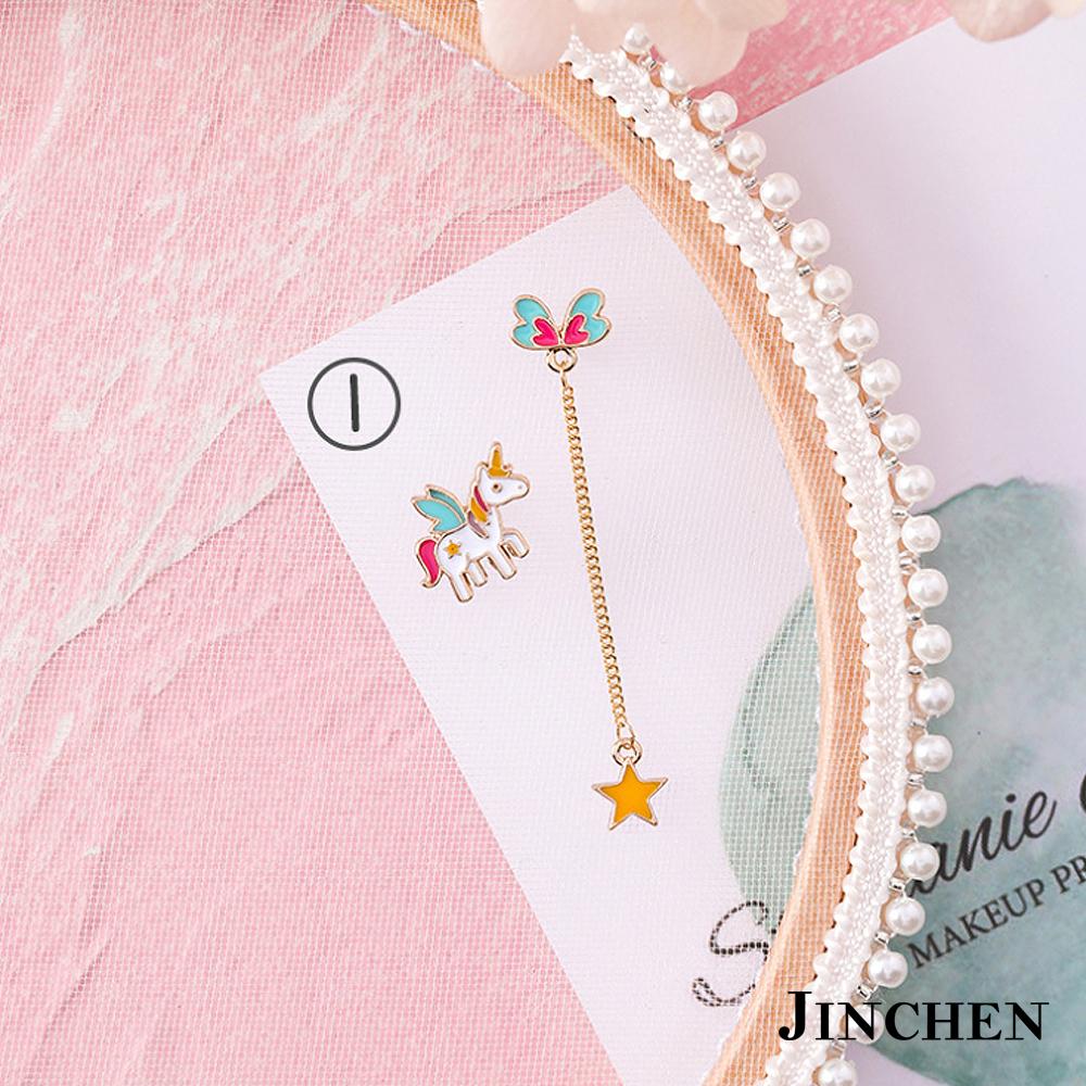 JINCHEN 合金宇宙獨角獸可愛耳環 product image 1