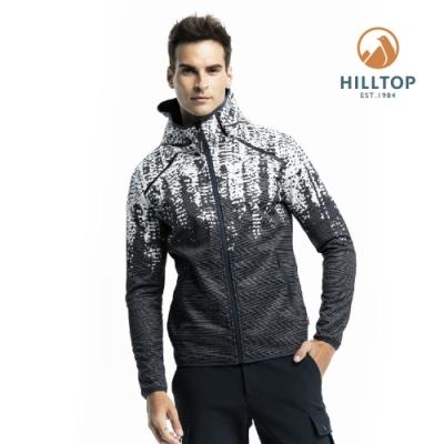 【hilltop山頂鳥】男款SOFTSHELL防風透氣保暖印花外套H22MX9黑白印花