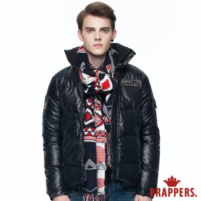 BRAPPERS 男款 男用配色貼標羽絨外套-黑