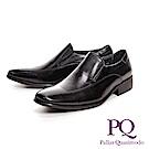 PQ 極簡雙線寬楦直套式男皮鞋-黑