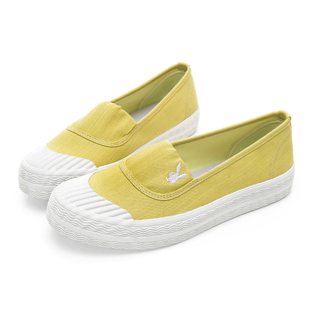 PLAYBOY 簡約丹寧帆布餅乾鞋-黃-Y5208BB