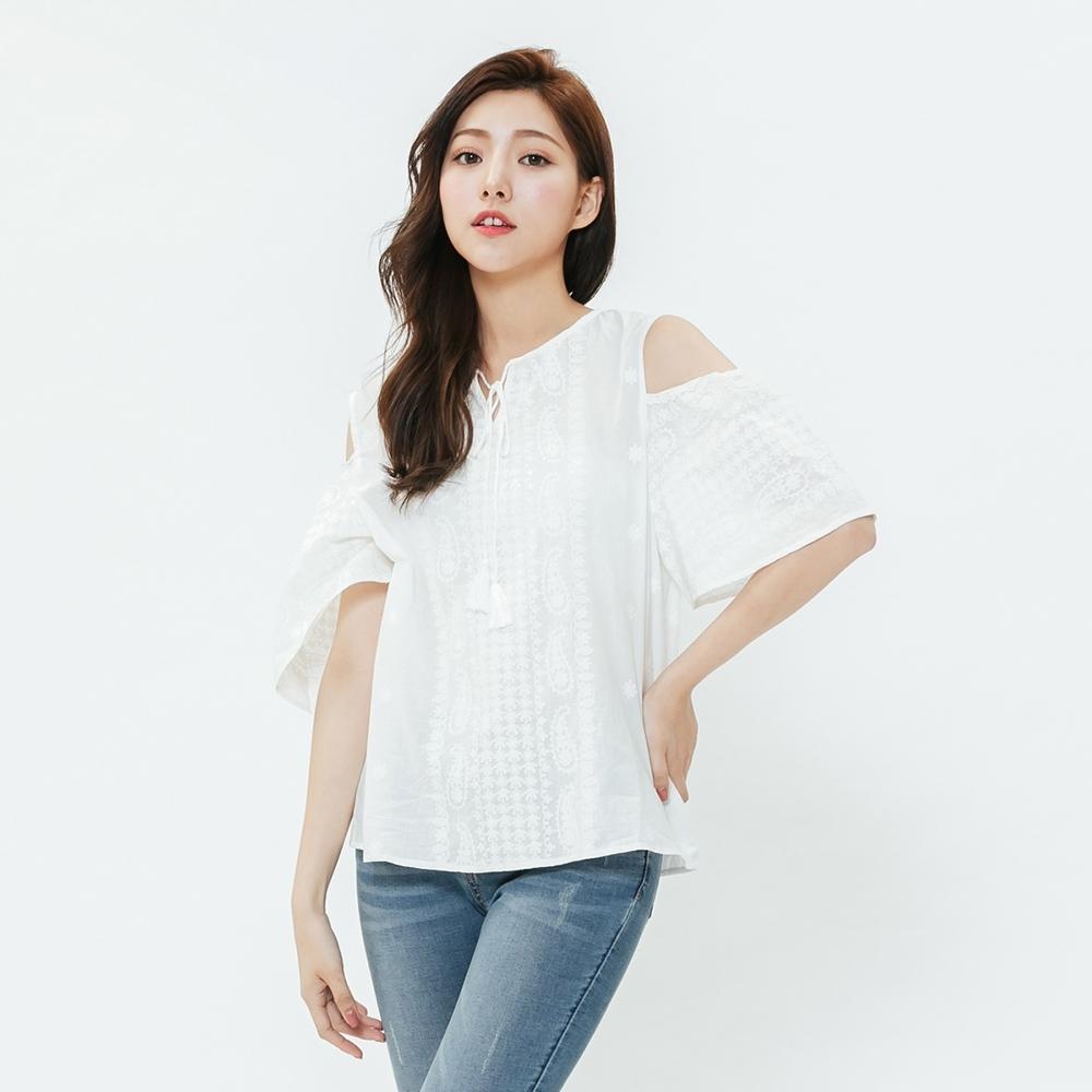 H:CONNECT 韓國品牌 女裝-露肩袖綁結造型上衣-白