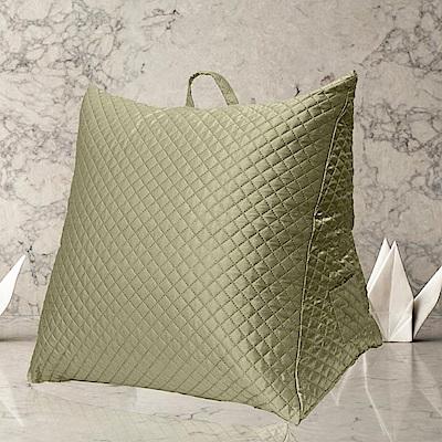 Gloria 時尚菱格紋立體三角大靠枕/抬腿枕-綠色