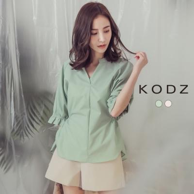 東京著衣-KODZ 率性韓妞V領後綁帶設計上衣-S.M(共二色)
