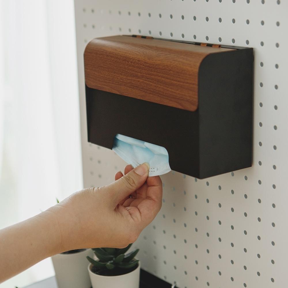 買就送 完美主義 木紋質感牆面口罩收納盒/口罩盒/MIT台灣製(2色)