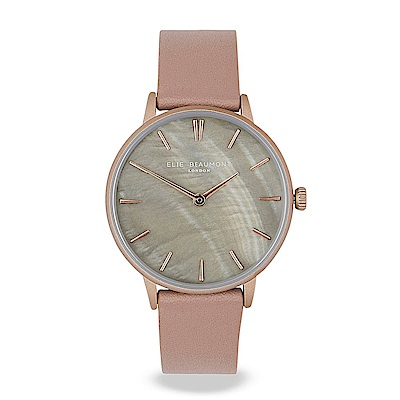 Elie Beaumont英國時尚手錶 SOHO系列 珍珠母貝錶盤x拿鐵色皮革錶帶35mm