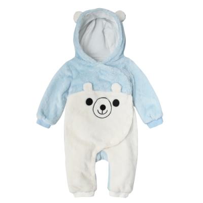 Baby童衣 保暖連帽連身衣 可愛動物造型服 側開扣絨毛抗寒包屁衣 12017