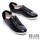 休閒鞋 HELENE SPARK Enchant系列水貂毛設計全真皮綁帶休閒鞋-黑